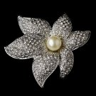 Brooch 67 Silver Ivory Clear