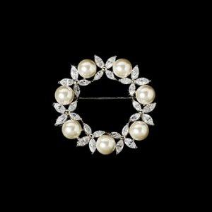 Brooch 2502 Silver White Pearl