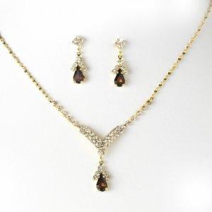 Gold Brown Crystal Drop Jewelry Set NE 344