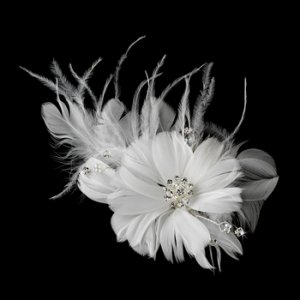 Beautiful Feather Fascinator Bridal Flower Comb 441 White or Ivory