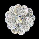 Silver Aurora Borealis Crystal Brooch 30503