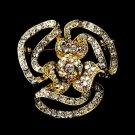 Gold Clear Aurora Borealis Crystal Flower Brooch 60