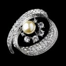 Radiant Silver with Clear Crystals and Ivory Pearls Brooch 92