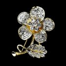 Gold Clear Crystal Flower Brooch Pin 94