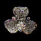 Silver Clear Aurora Borealis Crystal Clip 444