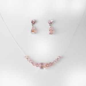 Pink Illusion Necklace & Earring Set NE 233