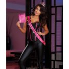 Tiara, light up sash w/bachelorette beauty print, game & open crtch thng batteris included wht o/s