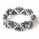 Purple AB Silver Clear Double Line Bracelet 7616