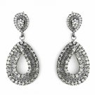 Antique Silver Smoked Black Earring Set 1056