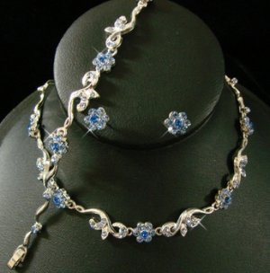 Silver Light Blue Floral Bridal Jewelry Set NEB 381