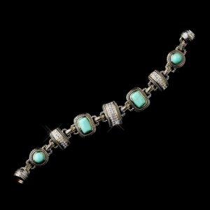 Silver Aqua Clear with Gold Trim Bracelet 7983