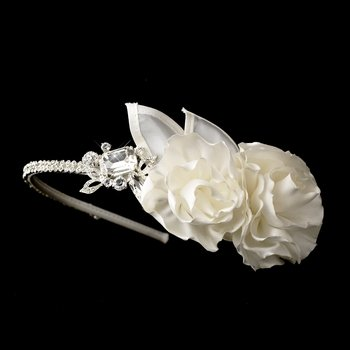 Rhinestone & Flower Accented Side Bridal Headband HP 616 (White or Ivory)