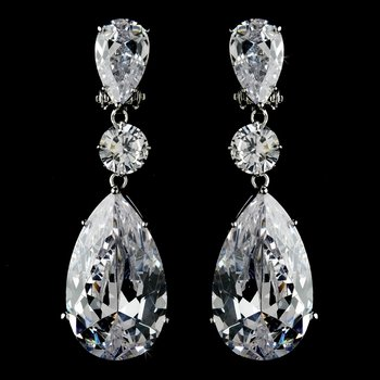 Breathtaking Large Cubic Zirconium Drop Clip On Bridal Earrings E 5383