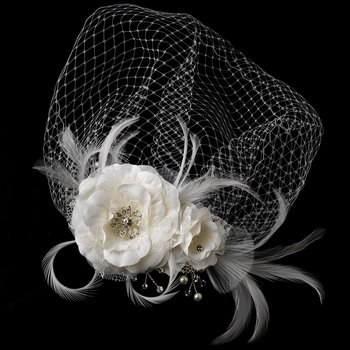 Beautiful Feather Fascinator and Bird Cage Face Veil Comb 755 (White or Ivory)