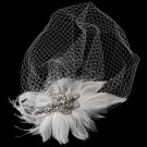 Vintage Couture Feather Bridal Headpiece with Bird Cage Veil Clip 476 (White or Ivory)