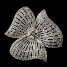 Silver Crystal Flower Brooch 168