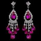 Silver Fuchsia Chandelier Earrings 24792