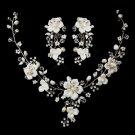 Antique Silver Necklace & Clip Earring Set 1014