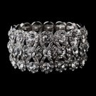 Glitzy Silver Bowtie Stretch Bracelet w/ Clear Crystals 8699