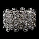 Striking Antique Silver Stretch Cuff Bracelet w/ Clear Crystals 8704
