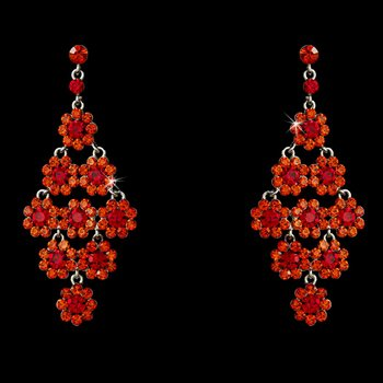 Glamorous Silver & Red Chandelier Earrings E 939