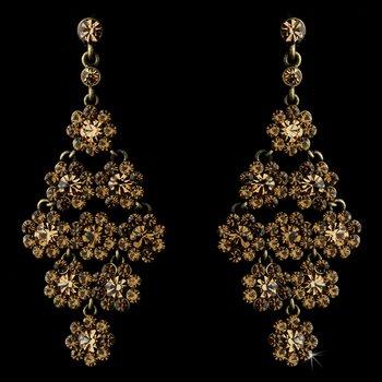 Glamorous Gold & Brown Chandelier Earrings E 939