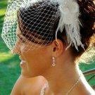 Elegant White or Ivory Feather Hair Fascinator 1533