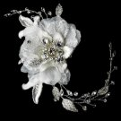 Vintage Lace Flower Bridal Comb w/ Silver Clear Rhinestones 8155