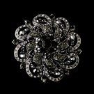 Antique Silver w/ Black Crystal Flower Brooch 79