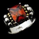 Brilliant Designer Inspired Silver Emerald Cut Burgundy CZ Ring 2891