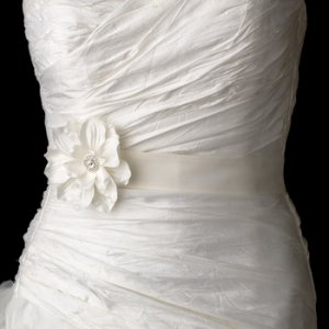 Belt with Jeweled Delphinium Flower Clip 413