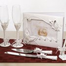 Butterfly Guest Book/Pen, Flutes & Server Set