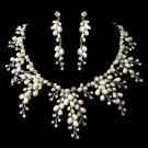 Stunning Silver Clear Crystal & Ivory Freshwater Pearl Necklace & Earring Set 8470
