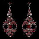 Elegant Red Vintage Crystal Earrings E 954