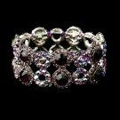 Hematite Turquoise & Light Blue AB Crystal Bridal Stretch Bracelet 8658