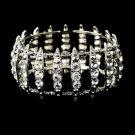 Antique Silver Clear Crystal Bridal Stretch Cuff Bracelet 8690