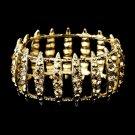 Gold Topaz Crystal Bridal Stretch Cuff Bracelet 8690