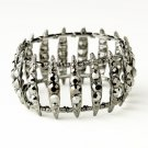 Hematite Smoked Crystal Bridal Stretch Cuff Bracelet 8690