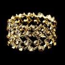 Gold Topaz Crystal Stretch Cuff Bridal Bracelet 8691