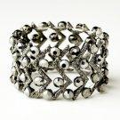 Hematite Smoked Crystal Bridal Stretch Cuff Bracelet 8691