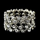 Silver Clear Crystal Stretch Cuff Bridal Bracelet 8691