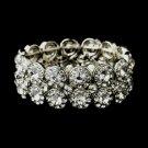 Crystal Bracelets > Antique Silver Clear Crystal Stretch Cuff Bridal Bracelet 9236