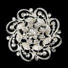 Silver Clear Floral Rhinestone Brooch 3