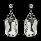 Antique Silver Clear Oval Rhinestone Bridal Stud Earrings 22245