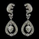 Antique Silver Clear Kate Middleton Inspired Tear Drop Acorn Earrings 22325
