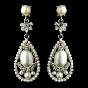 Antique Silver Clear Rhinestone &amp; Diamond White Pearl Bridal Earrings 22585