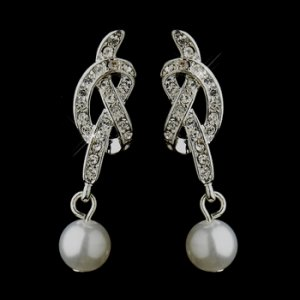 Silver White Pearl and Clear Rhinestone Love Knot Bridal Earrings 24022