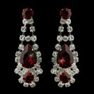Silver Clear Crystal & Red Rhinestone Bridal Earrings 70013
