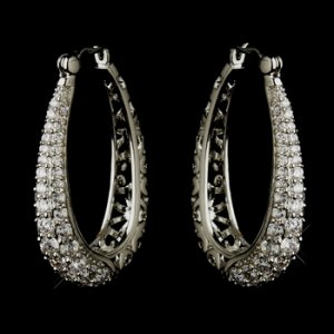 Antique Silver Clear CZ Crystal Swirl Bridal Earrings 8779