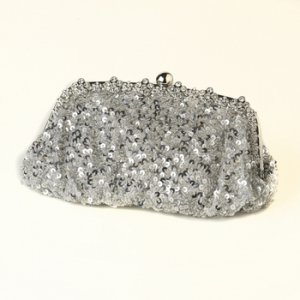 Silver with Black Sequin Evening Bag 325 with Silver Frame & Shoulder Strap